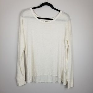 Madewell boatneck cream long sleeve tee